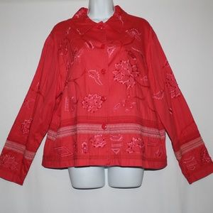 Coldwater Creek Red Orange Jacket Embroidery Sz XL